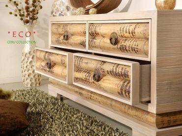 Bambus Sideboard Cebu Eco hell, groß (4 Schubladen) – Bild 2