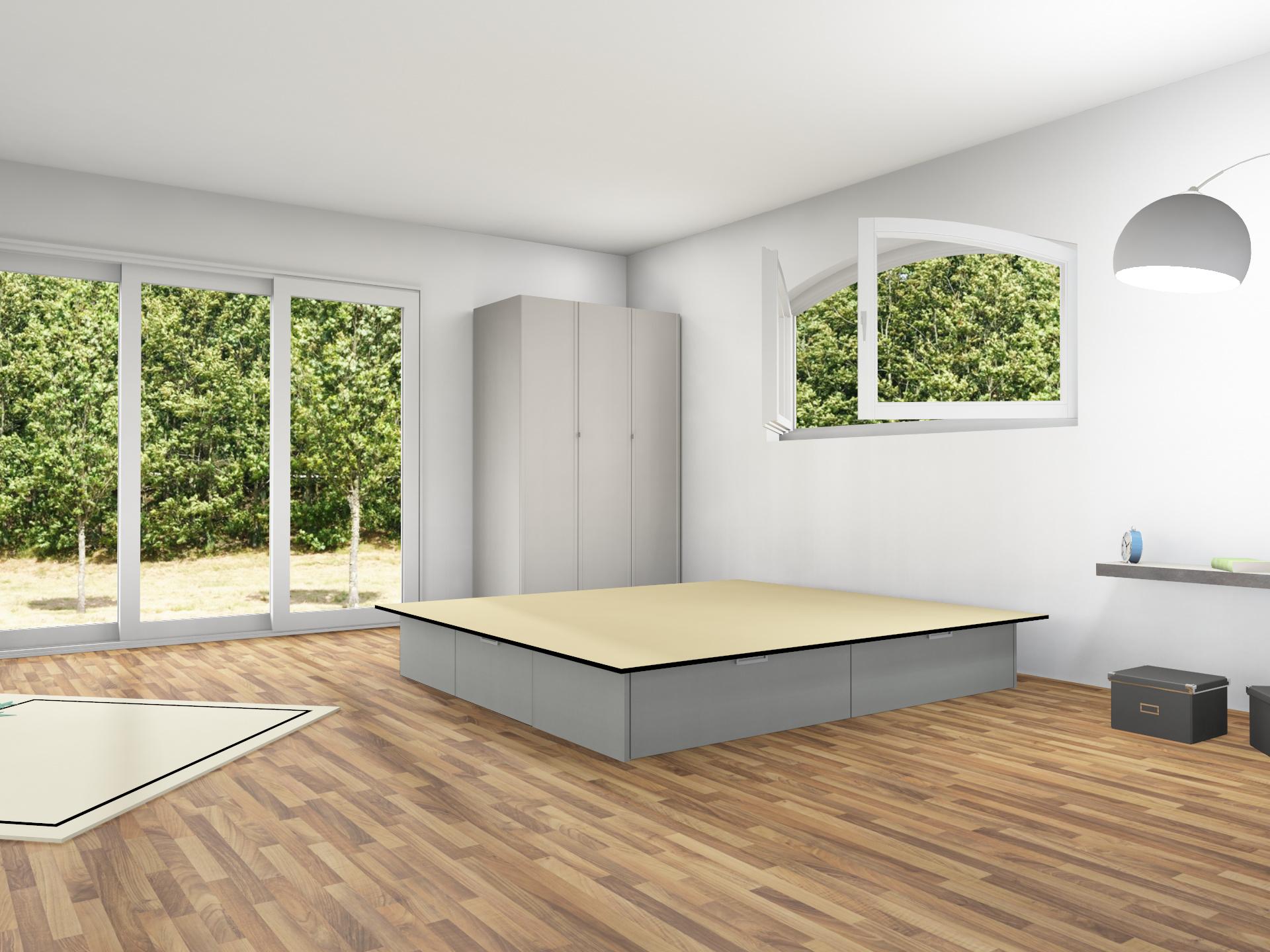 4er Schubladensockel Podest für Wasserbetten mit Griffmulden