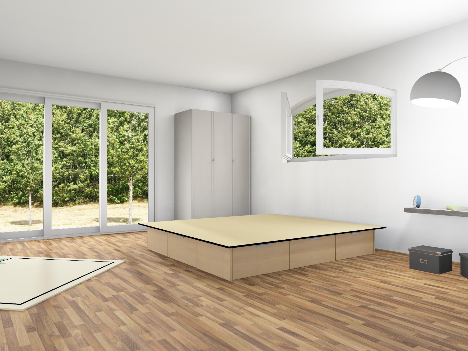 6er Schubladensockel Podest für Wasserbetten mit Griffmulden