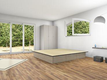 6er Schubladensockel Podest für Wasserbetten mit Griffmulden – Bild 4