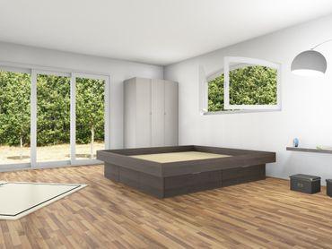 4er Schubladensockel Podest für Wasserbetten mit Griffmulden und Umrandung – Bild 9