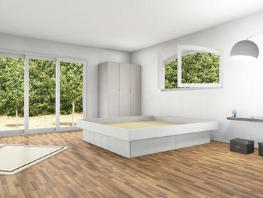 4er Schubladensockel Podest für Wasserbetten mit Griffmulden und Umrandung