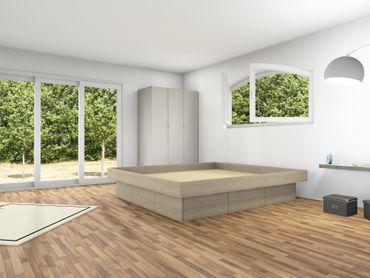 6er Schubladensockel Podest für Wasserbetten mit Griffmulden & Umrandung – Bild 9
