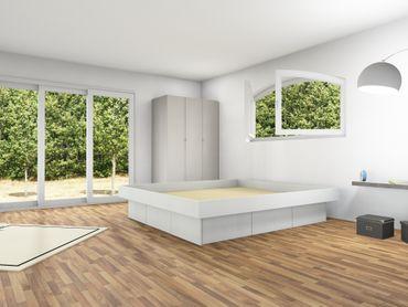 6er Schubladensockel Podest für Wasserbetten inkl. Umrandung, Tiptronic – Bild 1