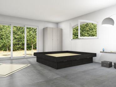 6er Schubladensockel Massivholz Podest für Wasserbetten mit Griffmulden & Umrandung – Bild 4
