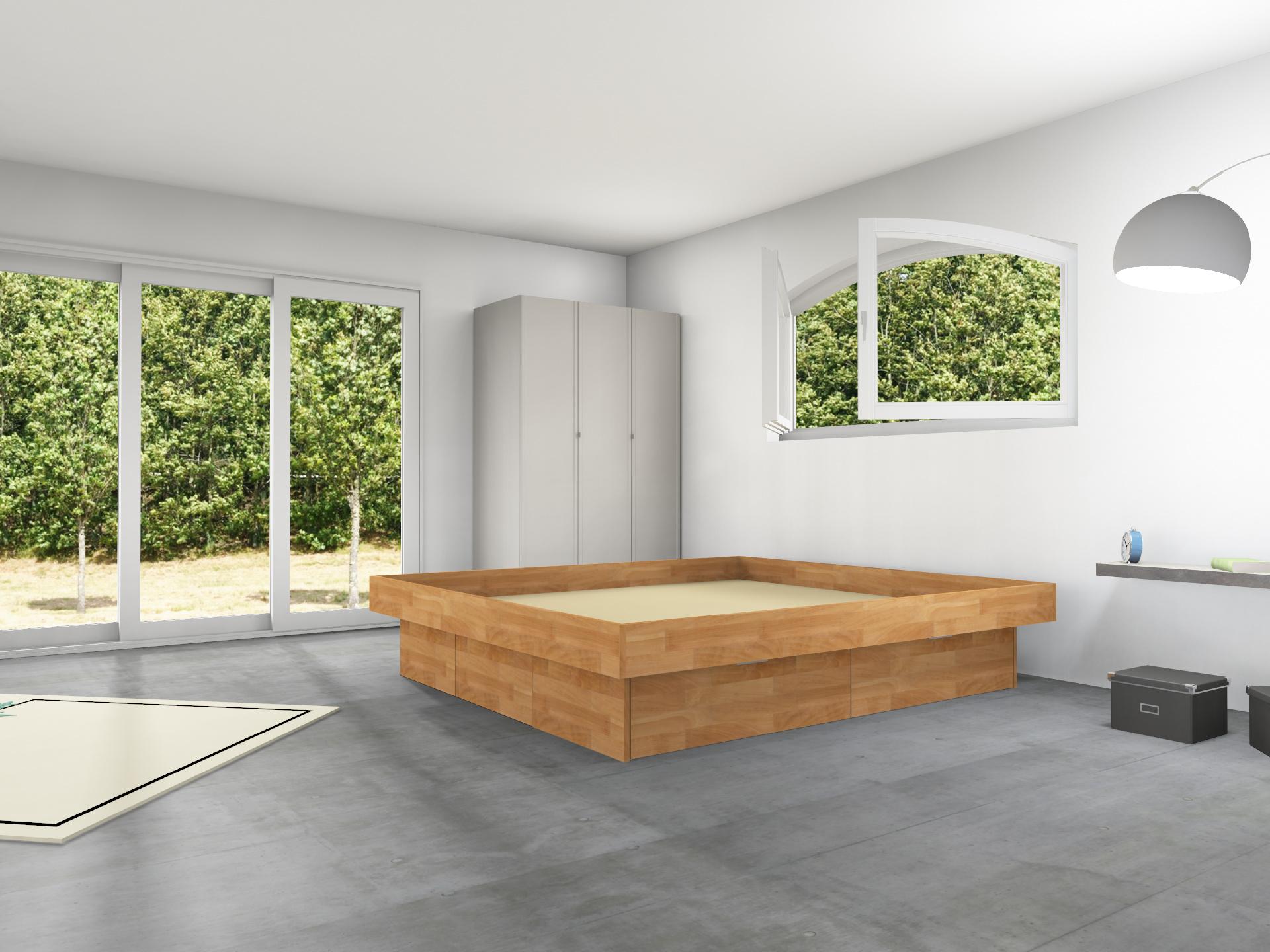 4er Schubladensockel Massivholz Podest für Wasserbetten mit Griffmulden und Umrandung