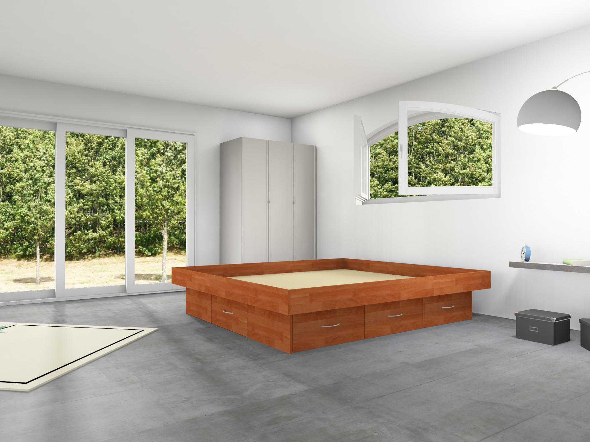 6er Podest Massivholz mit Schubladen inkl. Umrandung für Wasserbetten