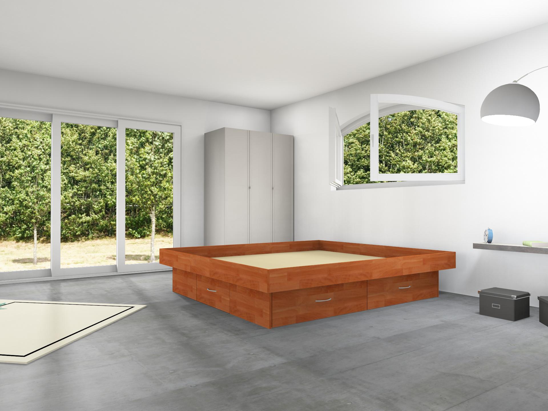 4er Massivholz Schubladen Podest inkl. Umrandung für Wasserbetten