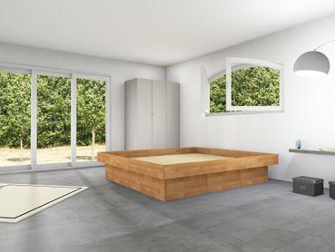 6er Schubladensockel Massivholz Podest für Wasserbetten inkl. Umrandung, Tiptronic – Bild 1