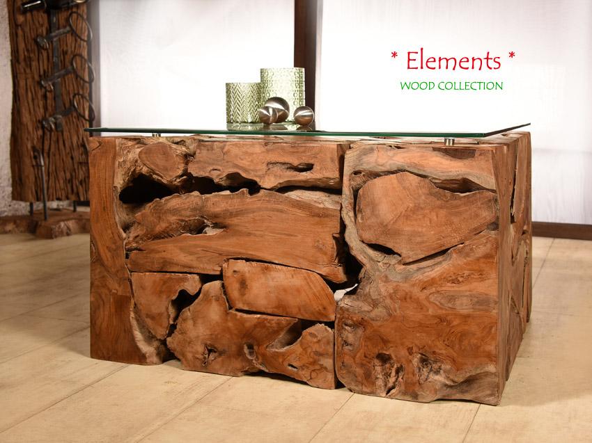 Teak Wurzelholz Tisch ELEMENTS 70x70