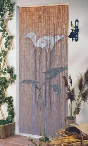 Türvorhang Bambus Dekovorhang Bambusvorhang Callasblüte Raumteiler Fliegenvorhang