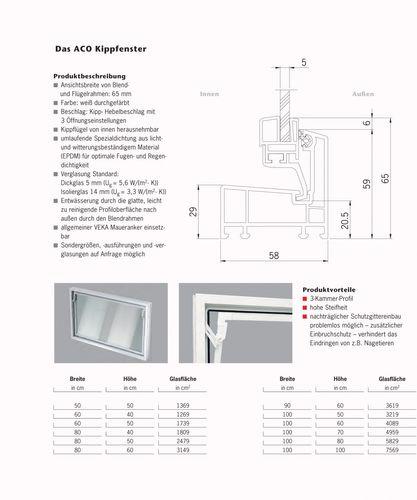 ACO 100cm Nebenraumfenster Kippfenster Einfachglas Fenster weiß Kellerfenster Größe Kippfenster: 100 x 60 cm – Bild 6