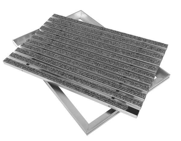 ACO Eingangsmatte Set 600x400mm Rips hellgrau mit Winkelrahmen Aluminium – Bild 1