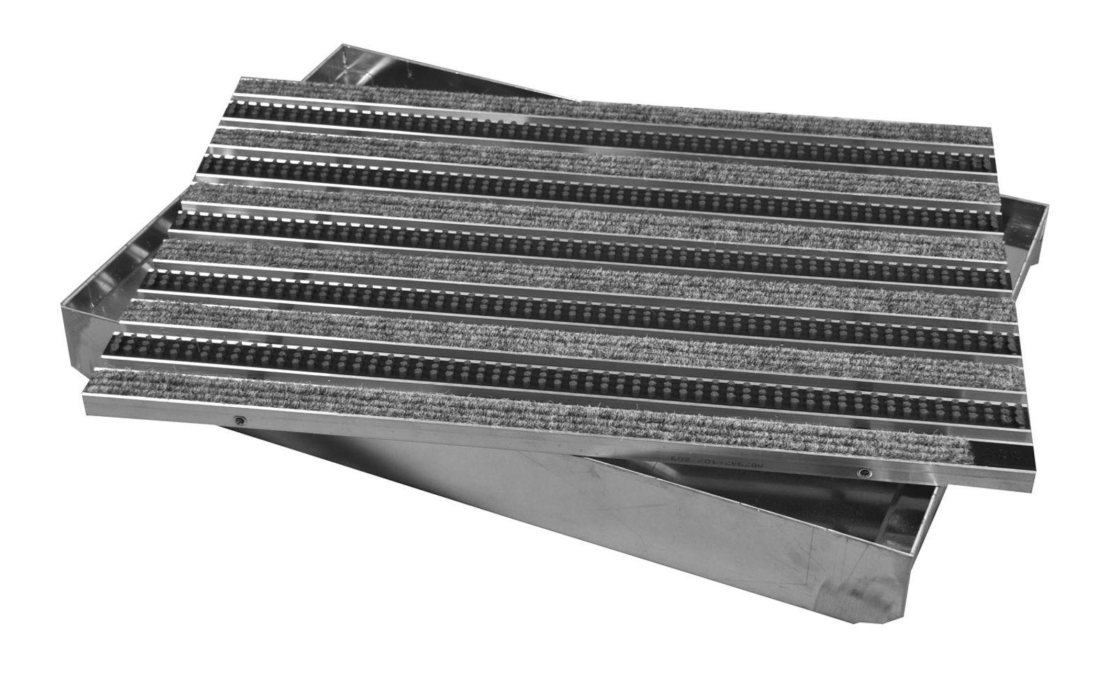ACO Vario Schuhabstreifer-Matte 75x50 cm Fu/ßmatte aus hellgrauen Rips-Streifen und Cassetten-B/ürsten f/ür au/ßen