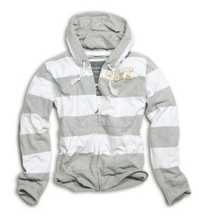 Surplus Stripe Zipper Hoodie Kapuzenjacke Sweatjacke Gr.:S Colour: Grey-White
