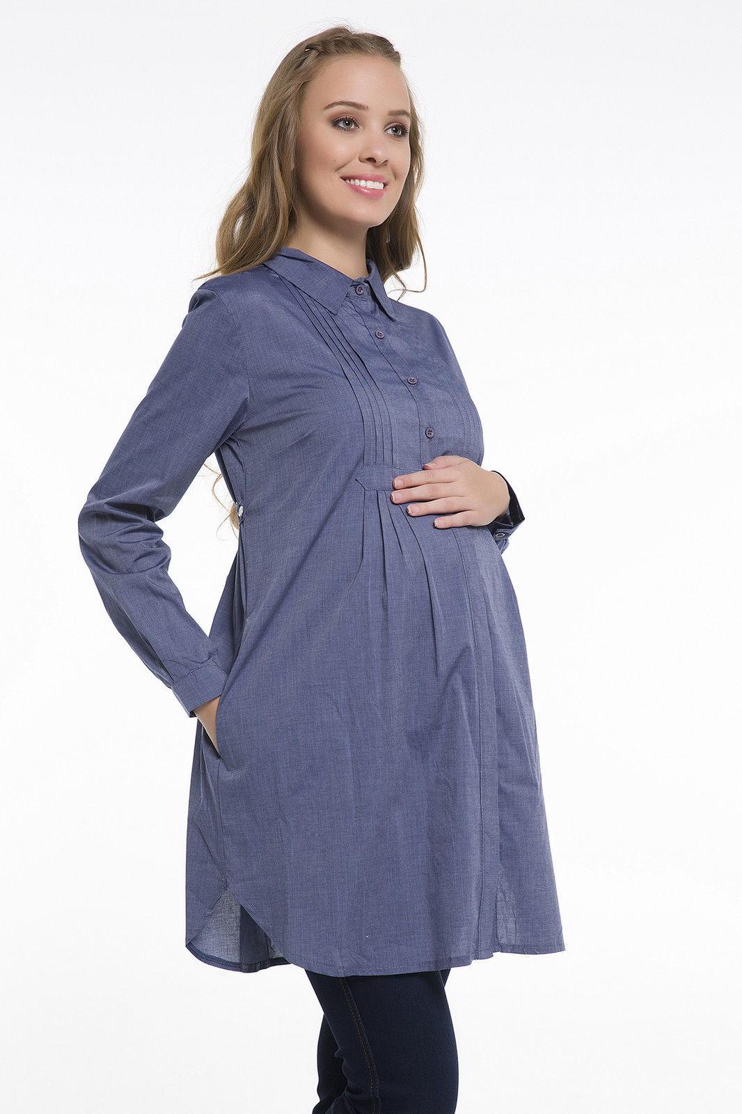groß auswahl 50% Preis hochwertiges Design Umstandsbluse Tunika Blau