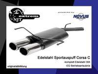 NOVUS Edelstahl Sportauspuff Opel Corsa C 1.0l 1.2l 1.3l 1.4l 1.7l Diesel - 2 x 76mm