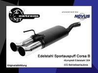 NOVUS Edelstahl Sportauspuff Opel Corsa B 1.0l 1.2l 1.4l 1.6l 1.5l 1.7l Diesel - 2 x 76mm DTM