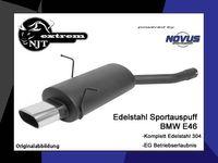NOVUS Edelstahl Sportauspuff BMW E46 Lim./Touring/Coupe 316i 318i/ci 320i/ci 323i/ci 328i/ci - 75 x 135mm