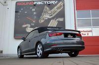 STREETBEAST 76mm Komplettanlage  MIT SOUNDGENERATOR  Audi A3 8V Cabrio Frontantrieb ab Bj. 01/2014-04/2016  2.0l TDI 110/135kW  - Endrohrvariante frei wählbar