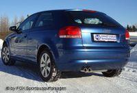 FOX Rennsportanlage ab Kat Audi A3 Typ 8P inkl. Cabrio - 2x76mm Typ 13 (Mod. mit serienm. VSD)