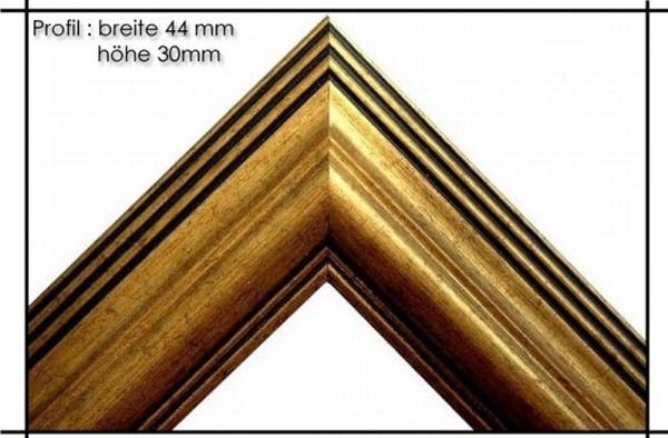 Holzrahmen Prunkrahmen Rustika Gold Gold - Profilbreite 44mm. Der Rahmen wird zur Selbstmontage* geliefert.