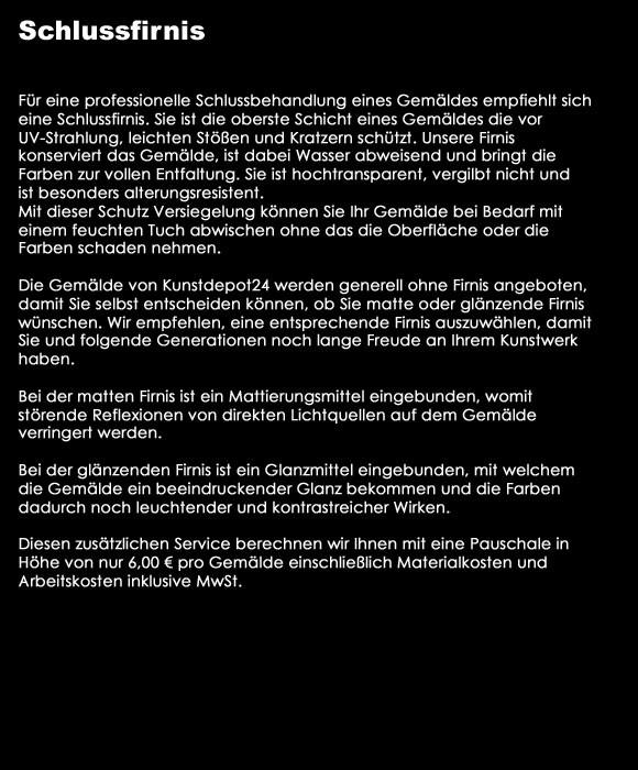 KUNSTDEPOT24  SCHLUSS FIRNIS GLANZ OBERFLÄCHENSCHUTZ
