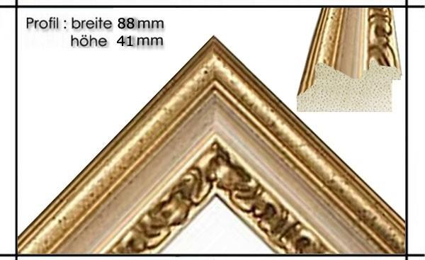 Holzrahmen Prunkrahmen Leonardo Creme Gold - Der Rahmen wird zur Selbstmontage* geliefert