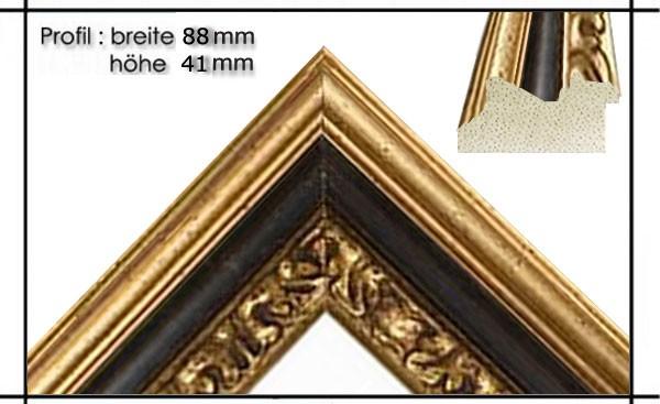 Holzrahmen Prunkrahmen Leonardo Schwarz Gold - Der Rahmen wird zur Selbstmontage* geliefert.