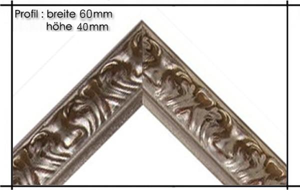 Holzrahmen Prunkrahmen Florence Silber - Profilbreite 60mm. Der Rahmen wird zur Selbstmontage* geliefert.