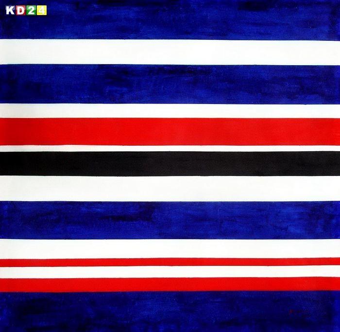 Modern Art - Hexadecimal Stripes m79252 120x120cm Ölbild handgemalt