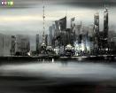 Modern Art Skyline Shanghai im Mondschein c84705 50x60cm abstraktes Ölgemälde