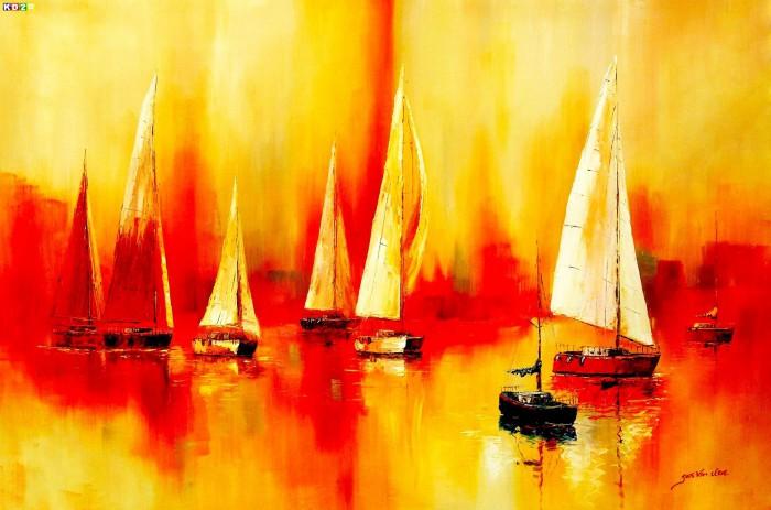 Segelboote auf dem Gardasee p88364 120x180cm modernes Gemälde handgemalt