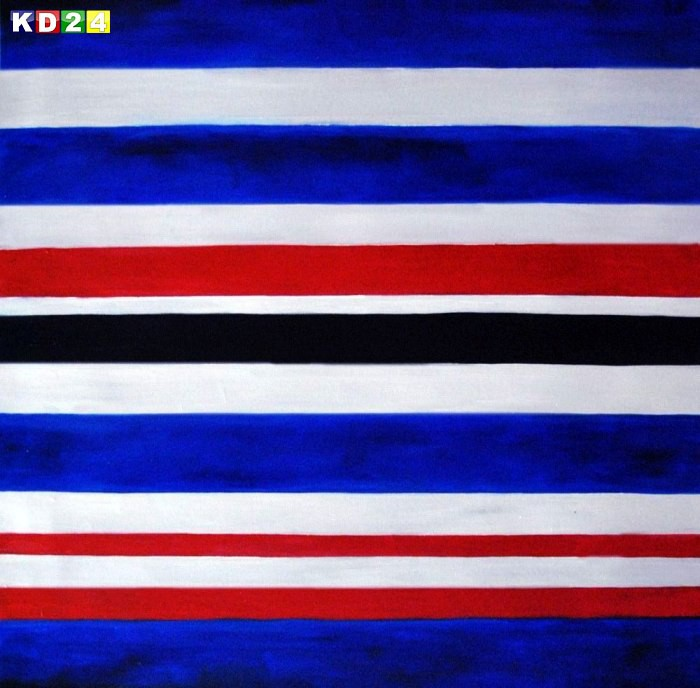 Modern Art - Hexadecimal Stripes g90120 80x80cm abstraktes Ölbild handgemalt