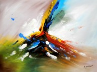 Abstract -  Tower of colors i90748 80x110cm abstraktes Ölbild handgemalt
