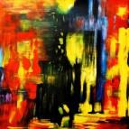 Abstrakt - Berlin an der Weltzeituhr m90896 120x120cm abstraktes Ölgemälde handgemalt