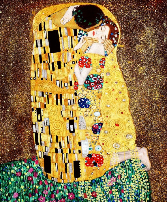 gustav klimt der kuss jugendstil lgem lde handgemalt museumsqualit t gem lde nach gr e 60x90 cm. Black Bedroom Furniture Sets. Home Design Ideas
