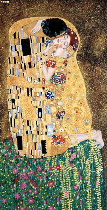 Gustav Klimt - Der Kuss Jugendstil Ölgemälde handgemalt Museumsqualität