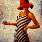 Modern Art - Lady in striped dress m91460 G 120x120cm Ölbild handgemalt
