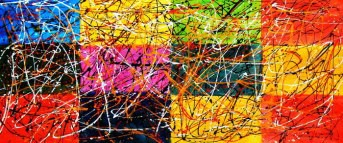 Homage of Pollock - Dripping over cubes t91482 75x180cm abstraktes Ölgemälde handgemalt