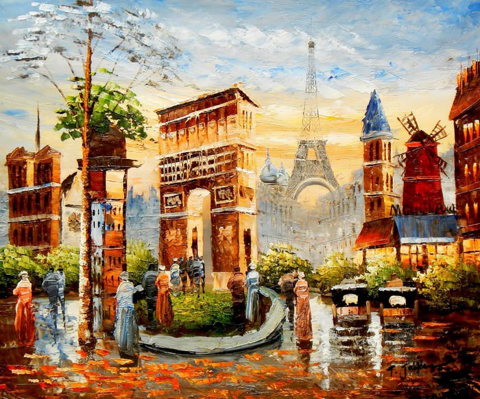 Modern Art Pariser Stadtleben am Abend c91661 50x60cm Ölgemälde handgemalt