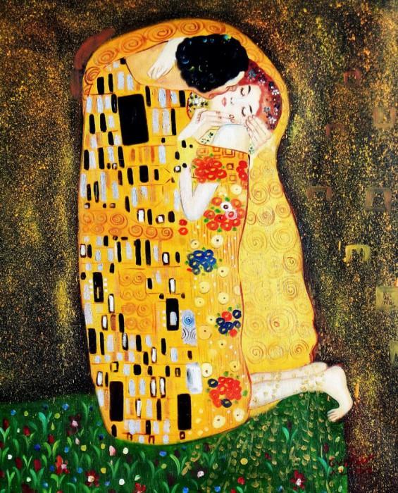 Gustav Klimt - Der Kuss c91975 50x60cm Jugendstil Ölgemälde handgemalt