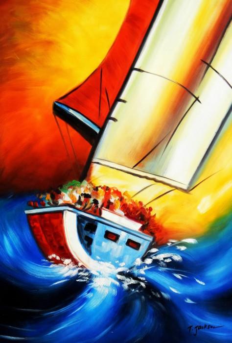 Segelschiff hart am Wind d91749 60x90cm beeindruckendes Ölgemälde