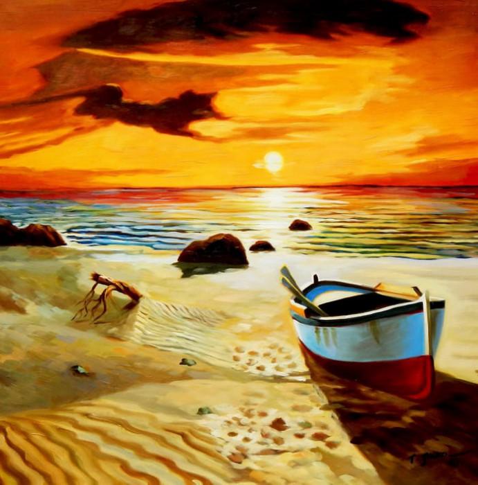 Sonnenuntergang am Strand von Sylt g91813 80x80cm exzellentes Ölgemälde