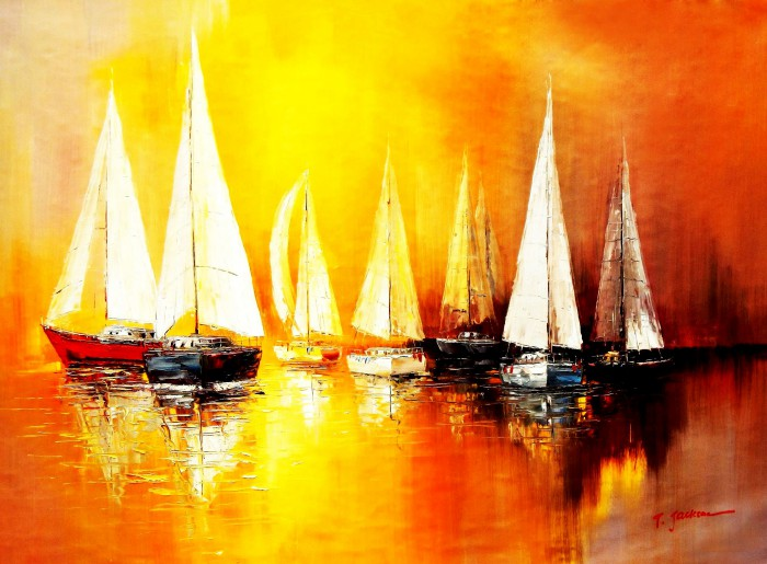 Segelboote auf dem Gardasee i91869 80x110cm modernes Gemälde handgemalt