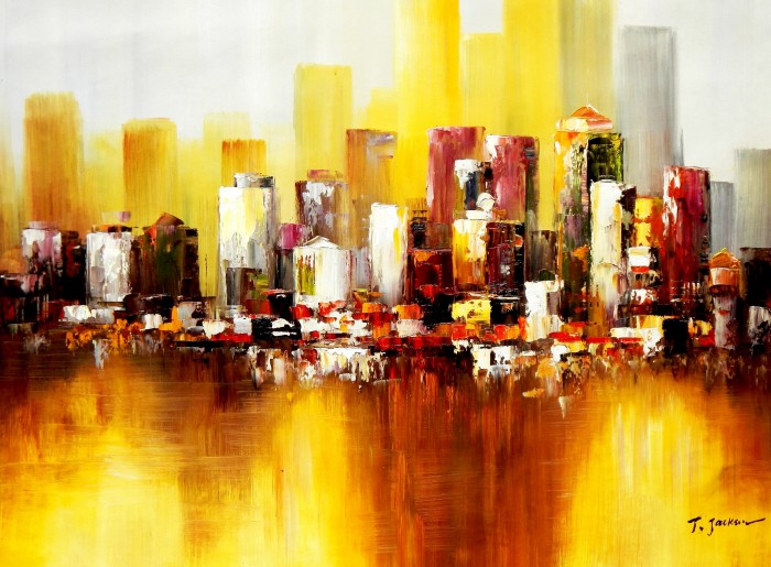 Abstrakt New York Manhattan Skyline im Herbst i91872 80x110cm abstraktes Ölbild