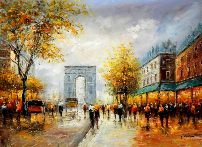Modern Art - Sommer am Arc de Triomphe Paris i91879 80x110cm Ölbild handgemalt