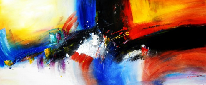 Abstract - Impact study t91931 75x180cm abstraktes Ölgemälde