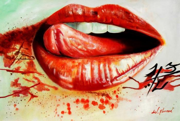 Modern Art - I kissed a girl d92512 60x90cm beeindruckendes Ölgemälde