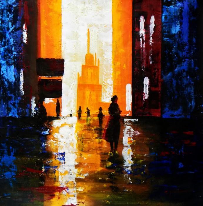 Abstrakt - Berlin Galeries Lafayette g92359 80x80cm abstraktes Ölbild handgemalt